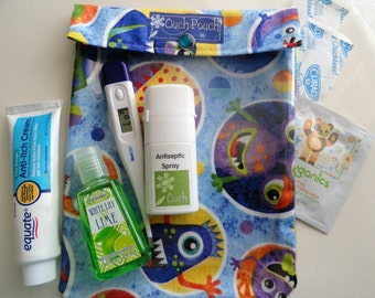 Monsters Glow in the Dark Ouch Pouch Clear Organizer for First Aid Diaper Bag Companion Wipes Holder Large 6x8