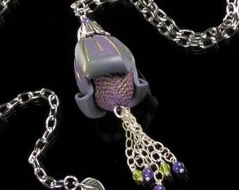 Art Deco Necklace - Statement Necklace - Unique Pod Necklace - Polymer Clay Jewelry - Art Deco Jewelry - Gift for Her - Unique Handmade Gift