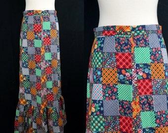 1970s Patchwork Maxi Skirt Hippie Rainbow Festival Ruffle Calico Prairie Small Medium