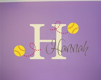 Softball Name u0026 Initial Wall Decal - Softball Wall Decal - Softball Wall  Decal Name Initial - Girls Wall Decal - Teen Decal