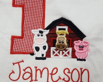 Farm Cow Horse Pig Barn Number Boys Girls Birthday Shirt Boutique Custom Personalized Name Included Appliqued Embroidered