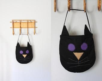 vintage stitched BLACK CAT handbag / vintage folk art cat bag purse