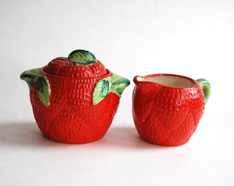 Vintage Strawberry Creamer and Sugar, Made in Japan