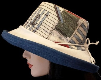 Sunblocker - Full brim sun hat with nautical theme and with adjustable fit