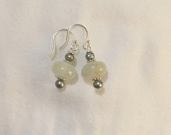 White Moonstone and Sage Freshwater Pearl Earrings on Sterling Silver