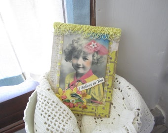 Inspirational Card - Bright Color Card - Vintage Victorian Girl Card