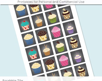 Cupcake Digital Collage Sheet Scrabble Tile .75x.83 Images 4x6 8.5x11 Download Sheets for Glass Resin Pendants E0078