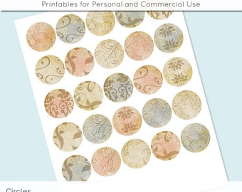 "Vintage Paper Patterns 1 inch 1.25"" and 1.5"" Circles Collage Sheet for Glass and Resin Pendants Bottle Caps Digital Download JPG"