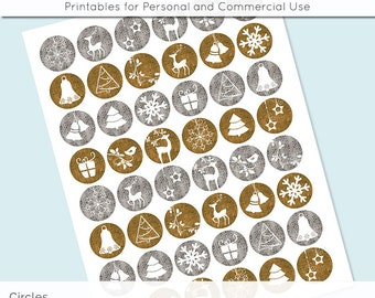 Christmas Silver Gold Digital Collage Sheet 30mm 25mm 20mm Circle Download Sheets for Glass or Resin Pendants Cuff Links Round