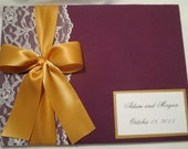 Polaroid Guest Book  for 50  photos size 4x6 -  over 50 fabrics , 10 Satin Ribbon Colors , and Free Customized Monogram Card
