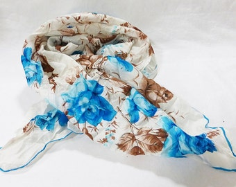 Vintage women scarf floral made in japan hand rolled 1960