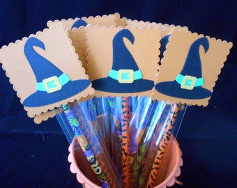 Halloween Birthday Party- Halloween Pencils-Classroom Pencils-Witch Hat Favors-Trick or Treat-Classroom Party Favors-Pencil Favors-