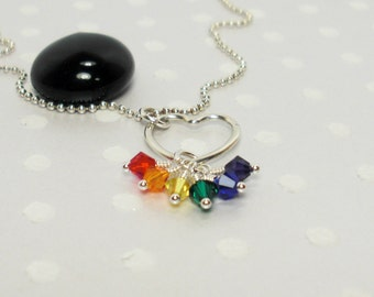Gay LGBT Pride Rainbow Flag - Heart Love - Love Wins - Handmade Necklace – Crystal Necklace - Custom Jewelry – Sterling Silver Necklace