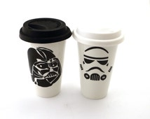 Star wars (R) Darth Vader, Storm Trooper, Travel mug set,star wars wedding, mr. and mrs. can be personalized, his and his, his and hers