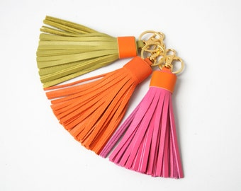 Leather tassel Keychain Bag charm Fringe keychain Tassel Purse Charm Gift for Her