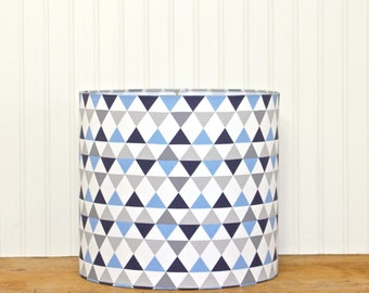 Triangle Drum Shade, Blue and Gray Lamp Shade, Modern Lamp Shade, Modern Drum Shade, Blue Lamp Shade, Boys Lamp Shade, Drum Shade, Grey