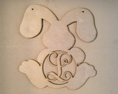 Unfinished Wood Easter Bunny Sitting Vine Monogram in 17.5 inch tall