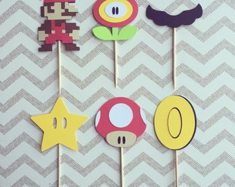 1 Dozen Mario Assortment Cupcake Picks- birthday, mario party