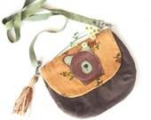 caramel floral, chocolate velvet and leather bear bag