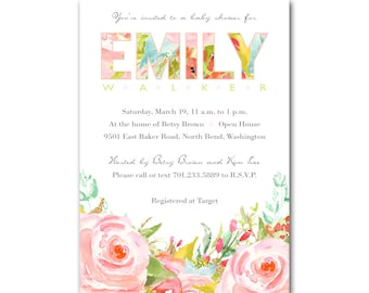 Baby shower invitation, baby girl, pink red roses, wedding, bridal shower invite, printable digital DIY, pink, green, floral invitation