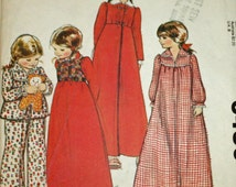Vintage 1970s, Sewing Pattern, McCall's 6480, Girls' Robe, Bolero, Nightgown and Pajamas, Girls' Size Small, Size 6 to 8