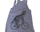 Cat on a Bicycle American Apparel Tank Top - Heather Grey Womens Tank