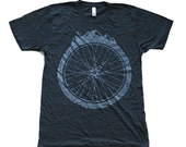 Bicycle Wheel and Mountains -  American Apparel Tri-Black TShirt - Available in XS, S, M, L, Xl and Xxl