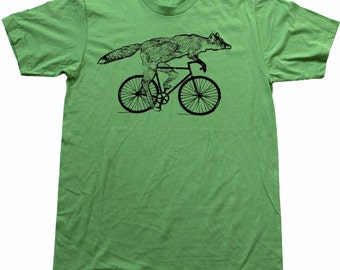 Mens BICYCLE Tshirt FOX on a Fixie BIKE Unisex Grass Green American Apparel