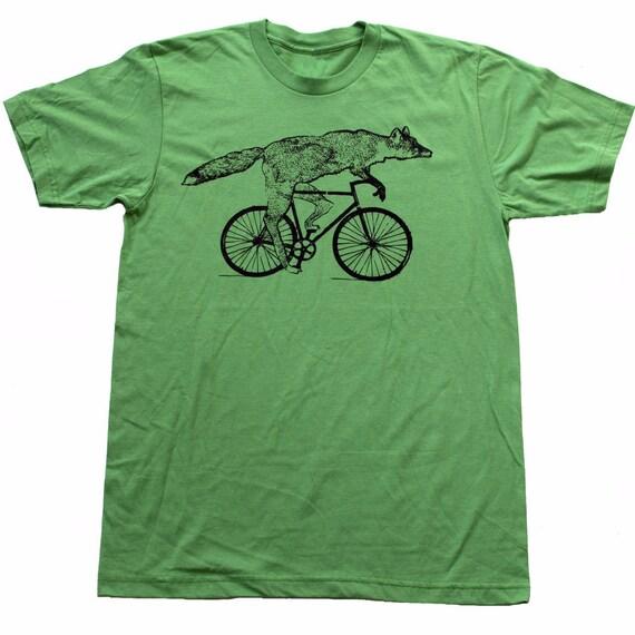 Mens BICYCLE Tshirt FOX on a Fixie BIKE Unisex Grass Green American Apparel