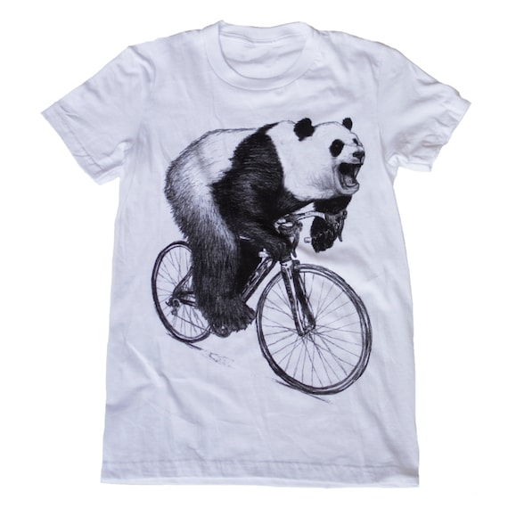 Ladies PANDA on a Bike - American Apparel TShirt - Available in S, M, L and Xl