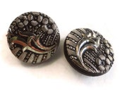 Art Nouveau Glass Antique Buttons - 2 Vintage 1900s Black Silver Floral 3/4 inch 19mm for Jewelry Making Beads Sewing Knitting