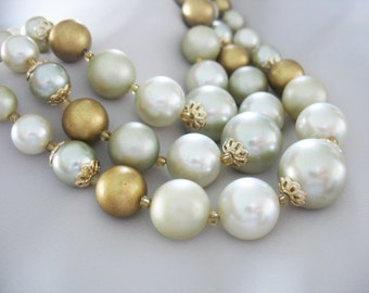 Beaded Necklace, Triple Strand, Japan, Gold, Silver, Gray, 1950s, Gold Accent, Lucite, Madmen Era