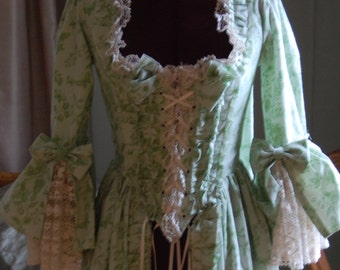 Green Floral sack back gown Antoinette Victorian inspired rococo costume top bodice