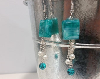 Turquoise Square Bead Dangle Earrings
