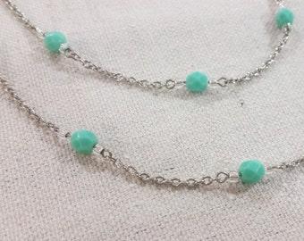 Delicate Long Aqua Bead Necklace