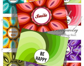 Inspirational words images for cards, ACEO, ATC, scrapbook and more Digital Collage Sheet 3 X 2 inch No.1664