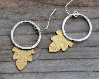 Unusual hoop dangle earrings, brass gold leaf earrings, open circle sterling silver boho earrings, botanical earrings, nature leaves jewelry