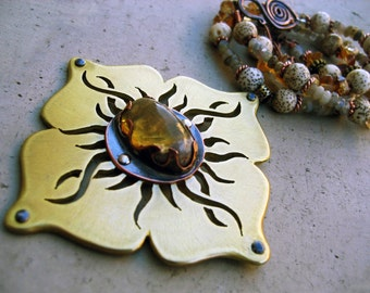 Solar Plexus Chakra Mandal Necklace with Fire Opal, Symbol of Personal Power, Handmade Artisan Jewelry, Beaded Necklace, Handcrafted Design