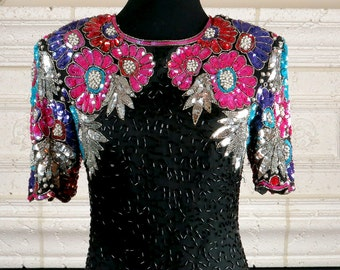 Take Me To A Party!  Stenay Black Silk and Beaded Dress