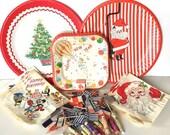 SALE 20% OFF NON-Linens Party De-Stash Vintage Paper Supplies Birthday Cake Christmas Plates Napkins Flag Picks Toothpicks Umbrellas