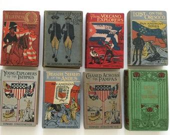Lot of 8 Vintage Books Adventure Explorers Historical Fiction Edward Stratemeyer