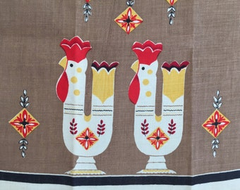 Vintage Dish Towel Rooster Vases Startex Kitchen Decor