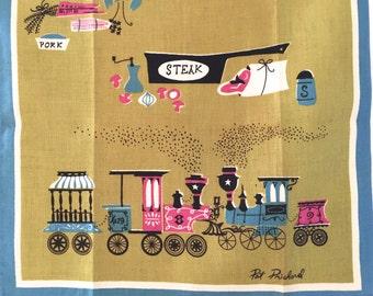 Vintage Tea Towel Pat Prichard Old West Steam Locomotive Train