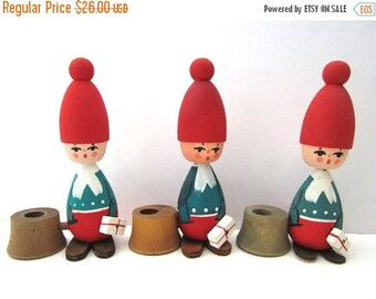 SALE 20% OFF NON-Linens One Vintage Christmas Tomte Candle Holder Wooden Figurine Swedish Tomte
