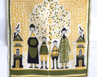 Swedish Tea Towel Family Four Scandinavian Textile Birds Trees Polka Dot Coat