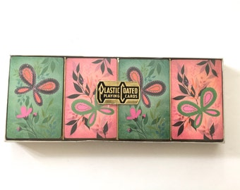 Vintage Playing Cards Butterflies Four COMPLETE Decks Original Box