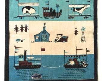 Linen Tea Towel Wall Hanging Prints Charming Transportation Theme