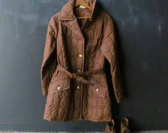 Quilted Farm Coat Belted Cinnamon Brown Womens 60s Medium Size Vintage From Nowvintage on Etsy