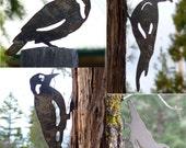 4 Bird Pack Pileated Woodpecker Meadowlark Nuthatch Lifesize Metal Cutout Post Garden Art