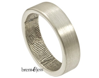 The Original Handcrafted Fingerprint Ring with Wrapped Print, 6mm wedding ring,  Custom Wedding Ring